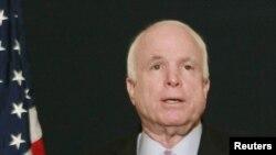 Egypt -- U.S. Senator John McCain (R-AZ) talks during a news conference in Cairo, 20Feb2012