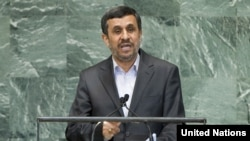 Iranian President Mahmud Ahmadinejad addresses the General Assembly's high-level meeting at UN headquarters in New York on September 24.