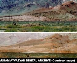 На фотографиях до и после разрушения кладбища в Джульфе видно, что на месте древних надгробий появилось стрельбище.