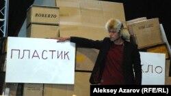 "Журналист Олег Белов ""Мэлс батыр"" образында. Алматы, 17 ақпан 2014 жыл."