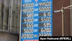 Табло с курсом покупки и продажи валют у обменного пункта в Алматы примерно в полдень в понедельник. 16 марта 2020 года.