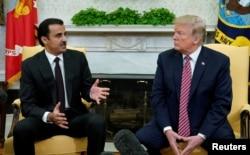 Эмир Катара Тамим бин Хамад Аль Тани и президент США Дональд Трамп. Вашингтон, 10 апреля 2018 года