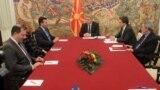 Средба на претседателот Ѓорге Иванов со лидерот на СДСМ Зоран Заев. Радмила Шеќеринска, Оливер Спасовски