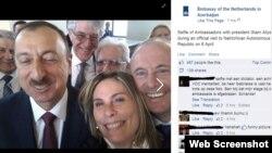 Azerbaijan -- Selfie with Azerbaijani prezident Ilham Aliyev made by Netherlands Ambassador, 8 April 2014