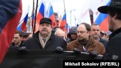 Геннадий Гудков и Владимир Кара-Мурза-мл. на траурном шествии памяти Бориса Немцова