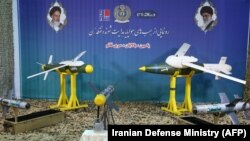 "Tthe missiles ""Balaban"", ""Ghaem"" and ""Yasin"" are displayed during an unveiling ceremony in the capital Tehran, August 6, 2019"