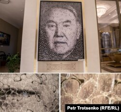 Портрет Нурсултана Назарбаева работы американского художника Дэвида Датуны. Шамалган, 28 ноября 2018 года.