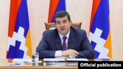 Nagorno-Karabakh -- President Ara Harutiunian airs a video address, Stepanakert, May 29, 2020.
