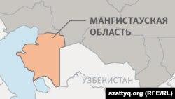 Мангистауская область на карте.