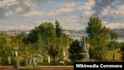 Джордж Лорынг Браўн, «Краявід Новай Англіі з могілкамі» (1862).