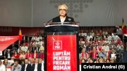 Viorica Dăncilă la un miting electoral în București
