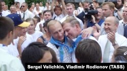 Vladimir Putin și Leonid Kucima. Tabăra de copii Artek din Crimeea. 28 iulie 2001
