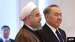 Иран президенті Хассан Роухани Қазақстан президенті Нұрсұлтан Назарбаевпен кездесуде. Астана, 22 желтоқсан 2016 жыл.