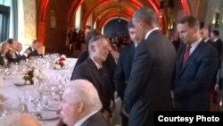 Мустафа Джемілєв і Барак Обама на зустрічі у Варшаві, 3 червня 2014 року (фото: Недім Усейнов)