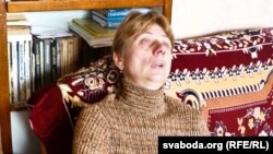 Lyubou Kavalyova reacts to news of her son's execution at her home in Vitsebsk on March 17.