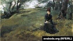 Эдвін Остын Эбі, «Маладая жанчына ў лесе» (1879)