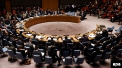 U.S. -- A United Nations Security Council (UNSC) meeting about terrorist and foreign fighters takes place at United Nations headquarters in New York, New York, 29 May 2015.