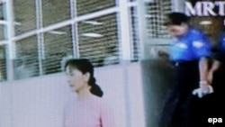 A TV video grab shows Aung San Suu Kyi at Insein Prison in Yangon on May 20.