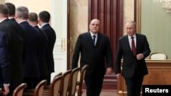 Владимир Путин, Михаил Мишустин жана өкмөт мүчөлөрү. 21-январь, 2020-жыл.