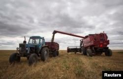 На полях в Акмолинской области собирают урожай. 10 сентября 2013 года. Иллюстративное фото.