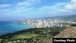 نمایی از ساحل وایکیکی در هاوایی