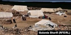 A makeshift settlement for seasonal migrants in rural Bamyan.