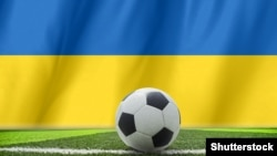 Ukraine – Soccer Background with Ukraine Flag