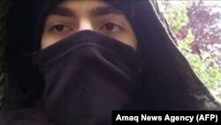 """Хамзат Азимовтің """"ИМ қатарына өтіп, ант бергені """" делінген видеодан скриншот."""