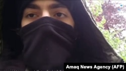 A screen grab from an extremist video purportedly showing Khamzat Azimov, a 20-year-old Frenchman who went on a knife rampage in Paris earlier this month.