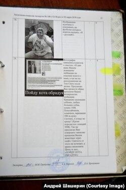 Скан одной из страниц заключения экспертов
