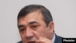Armenia -- Ruben Hayrapetian, chairman of the Armenian Football Federation, at a news conference, 3Feb2011.