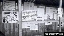 Плякат па-беларуску заклікае да абароны незалежнасьці Літвы, Вільня, 1991 год