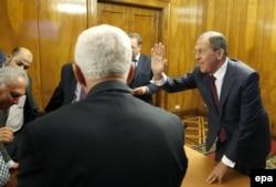 Сергей Лавров на встрече с представителями палестинских организаций в Москве. 16 января