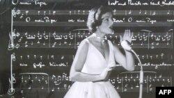 Швейцарская певица Лиз Ассиа на конкурсе Евровидение в Лугано. 1956 год.