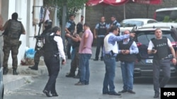 Turkish police secure the area in front of the U.S. Consulate in Istanbul in August 2015.