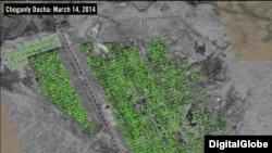 Снимок одного из районов в Ашгабате со спутника.