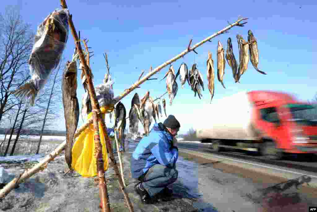 A man sells dried fish on a highway near the Belarusian village of Lapichi, some 95 kilometers south of the capital, Minsk. (AFP/Viktor Drachev)