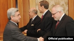 Armenia -- President Serzh Sarkisian meets with the visiting co-chairs of the OSCE Minsk Group, 9Feb2011.