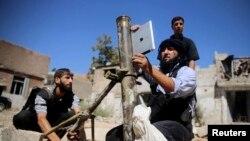 Сирийские повстанцы в окрестностях Дамаска