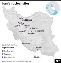 Map of Iran showing main nuclear facilities.