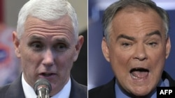 U.S. Republican vice presidential candidate Mike Pence (left) sparred over Russia with Democratic candidate Tim Kaine during a debate October 4.