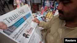 Сообщение о гибели муллы Ахтара Мансура, возглавлявшего афганское крыло «Талибана», в пакистанской газете. 23 мая 2016 года.