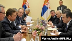 Serbian Prime Minister Ivica Dacic (right) meets with Aleksei Miller of Gasprom in Belgrade on November 11.