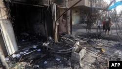 Pamje pas një sulmi të mëparshëm në Bagdad të Irakut