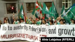 Demonstrații sindicale în fața instituțiilor UE