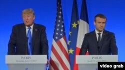 امانوئل مکرون (راست) و دونالد ترامپ، روسایجمهوری فرانسه و آمریکا.