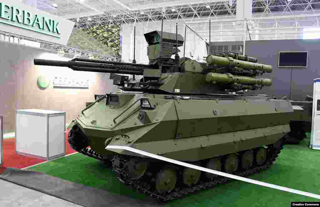 Russia's unmanned Uran-9 tank is armed with a 30-millimeter cannon capable of punching through brick walls, as well as four missiles that can take out tanks or aircraft.