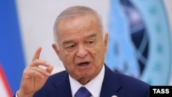 Uzbek President Islam Karimov talks to media following a summit of the Shanghai Cooperation Organisation (SCO) in Tashkent, in June.