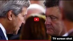 Государственный секретарь США Джон Керри и президент Украины Петр Порошенко в Киеве. 5 февраля 2015 года.