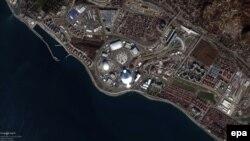 Сочи олимпиада қалашығының ғарыштан жер серігі түсірген суреті.